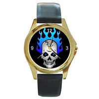 Punk / Gothic Skull with Blue Flame Hair on a Watch with Leather Band