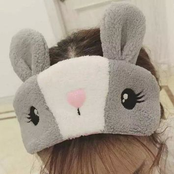 Kawaii Rabbit Ears Short Plush Eye Mask Cartoon Blindfold Sleep Eyes Cover Animal Costumes