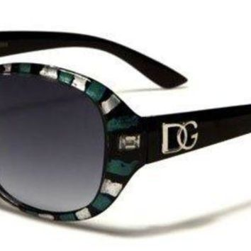 ONETOW DG Eyewear Ladies High Fashion Trendy Hip Sunglasses d7414 (Black with Blue Eyes)