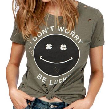 ICIKAB3 Lucky Brand Don't Worry Be Lucky Tee Dark Olive