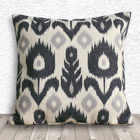 Pillow Cover, Pillow Case, Cushion Cover, Linen Pillow Cover 45x45cm - Printed Ikat - 091