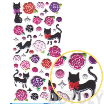 Black Kitty Cat and Rose Silhouette Shaped Animal Themed Glittery Spongy Stickers