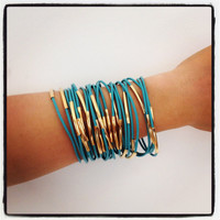 Set of Five Turquoise leather Bracelets  24k mate gold by Brinkle