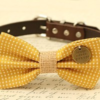Mustard Dog Bow Tie collar, Pet Wedding, Charm (Never Never Give Up!), Burlap