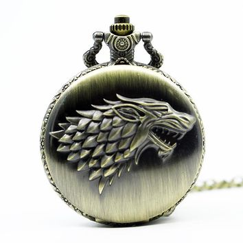 Retro Bronze Game Of Thrones Stark House Pocket Watch Necklace Wolf Quartz Fob Antique Clock Chain Pendant For Men Gift TD2081