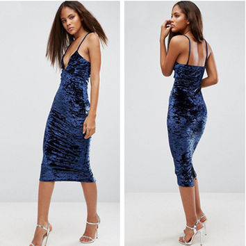 Fashion Solid Color Velvet V-Neck Sleeveless Backless Strap Dress
