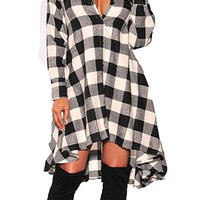 Long Sleeves Plaids  Shirt Dress