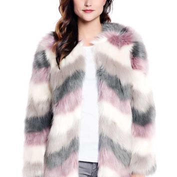 Dripping In Chevron Fur Jacket