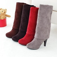 Korean Elastic High-Heeled Knee Snow Boots