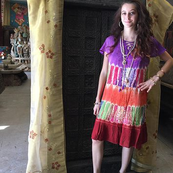 Mogul Womens Beach Dress Tie-Dye Floral Embroidered Lace Up Gypsy Dresses: Amazon.ca: Clothing & Accessories