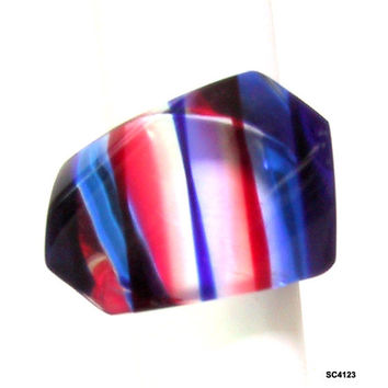 Vintage Lucite Ring Red White Blue 1960s