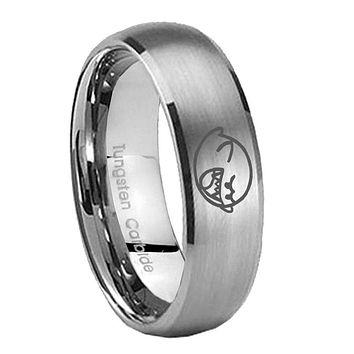 8MM Classic Satin Silver Dome Mario Boo Ghost Tungsten Laser Engraved Ring