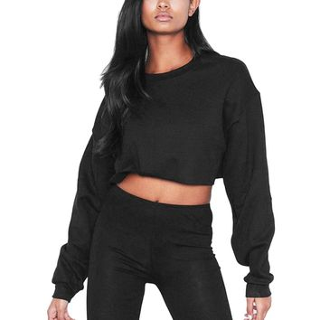 Womens Crop Top Oversized Hoodies Casual Long Sleeve Sweatshirt 2018 Autumn Winter White Black Hoodie Pullover Jumper Moleton