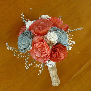 Wedding, Sola wood Bouquet, Coral and gray Burlap, Coral Wedding Bouquet, Alternative Bouquet,  Coral Bouquet, Sola flowers, Wood Bouquet