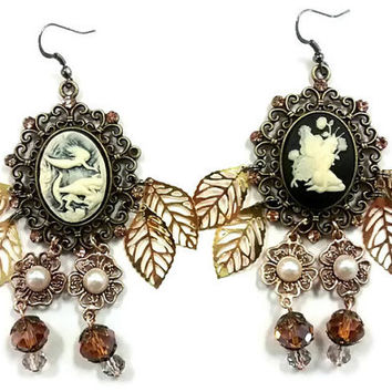 Vintage Cameo earrings, mermaid cameo earrings, Victorian style earrings, leaf and pearl jewelry, antique earrings, fairy earrings, cameo