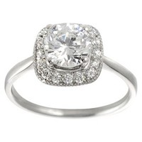 Tressa Collection Sterling Silver Halo Accent Cubic Zirconia Bridal Ring - Silver