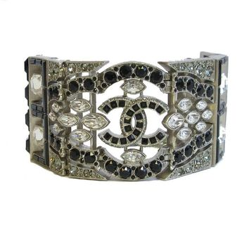 CHANEL Hinged Cuff Bracelet in Matte Silver Metal Set with Swarovski Rhinestones