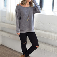 Vintage Havava Cold Shoulder Sweatshirt - Steel Grey