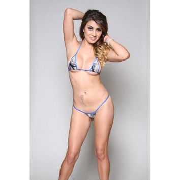 5e0efcbd1c8 White w/ Black Stripes Micro G-String Bikini 2pc w/ Electric Blu