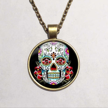 2015 Vintage Floating Locket Bronze Chain Statement Necklace Art Picture Sugar Skull Glass Cabochon Gothic Necklaces & Pendants