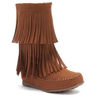 Jumping Beans Girls' Fringe Boots (Brown)