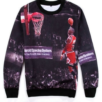 Black Emoji Michael Dunk Lore 23 Hip-Hop Long Sleeve Sweatshirt