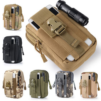 Universal Phone Bag All Mobile Phone 4.0 ~ 5.5 Outdoor Tactical Holster Military Waist Belt Bag Wallet Pouch Purse With Zipper