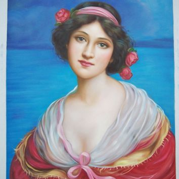 """Hand Painted Oil Painting Repro Lady Portrait 20"""" x 24"""" Wall Art"""