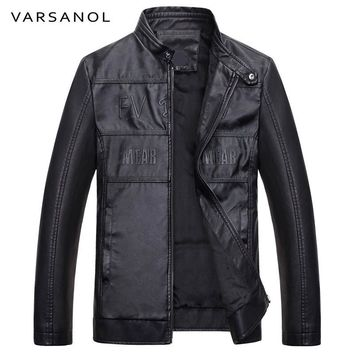 Men Bomber Jacket Casual Leather Jackets Long Sleeves Autumn Winter Men Clothes Warm Letter With Pocket Coat