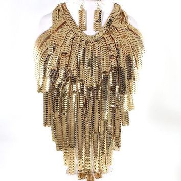 Gold Waterfall Chain Necklace & Earrings SET