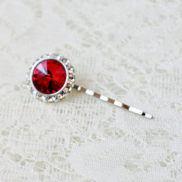 Ruby Red Crystal Hair Pin Vintage Button Silver Plated Bobby Upcycled Barrette Holiday Party Flower Girl Gift Art Deco Rhinestone