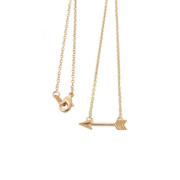2016 Gold Plated Long Chain Arrow Pendant Necklaces for Women Simple Pendants Necklaces for Girls XL003
