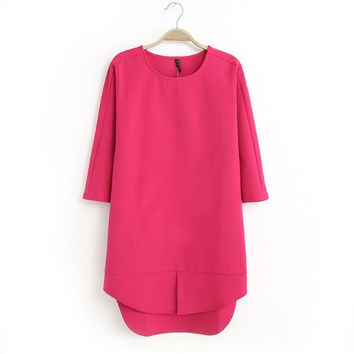 Summer Stylish Three-quarter Sleeve Dress Tops One Piece Dress [4917843780]