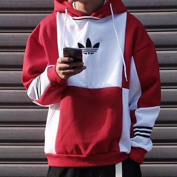 Adidas Fashionable Women Men Casual Hooded Sweater Top Sweatshirt Red