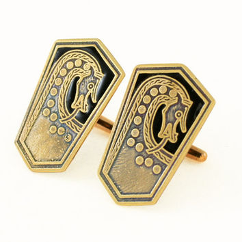 Scar Burial Plaque Viking Cufflinks with Black Inlay