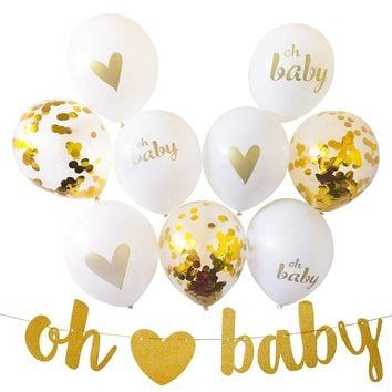 BABY SHOWER PARTY Decoration Set-Gold Baby Shower Decoration, Baby Shower Banner, Baby Shower Balloons, Gold Confetti Balloons, Neutral Baby