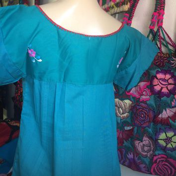 Mexican Tehuacan Embroidered Blouse Teal