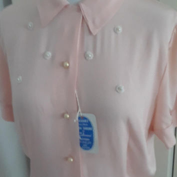 50s Pink Deadstock Blouse, Embellished, Pearls, Short Sleeves, NWT, Size M, 42B/38W