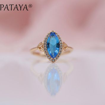 PATAYA New Arrivals Blue Horse Eye Natural Zirconia Rings 585 Rose Gold Love Luxury Jewelry Women Wedding Party Fashion Ring