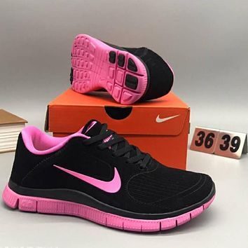 Nike FREE comfortable shock absorbing light sports jogging shoes F-CSXY black+pink hook