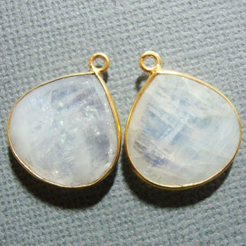 White Moonstone Gold Vermeil Pendant, Checker Board Handmade Vermeil Rainbow Moonstone Bezel Rim Pendant, 14x17mm, 2 pcs