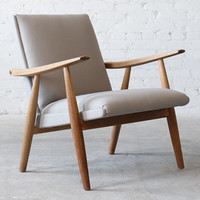 Hans Wegner Getama GE-260 Oak Low Back Easy Chair Danish Modern Mid-Century