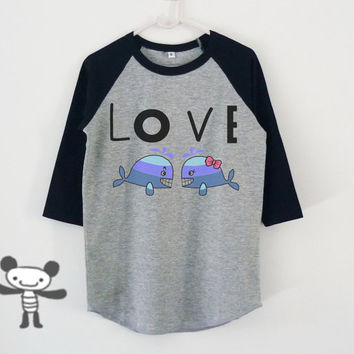 Cute whale love quote raglan shirt for kids toddlers boys girls tops Baby clothing