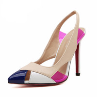 Women Red Bottom Pointed Toe Slingback Thin Heels Pumps