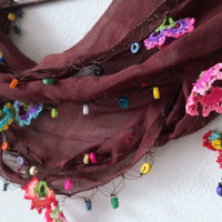 Brown Crochet Lace Scarf with Colorful Beads, Flowers, Floral Lace Scarf, Elegant Fashion