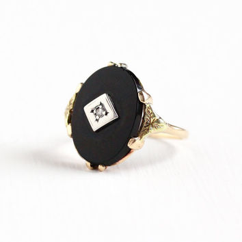 Vintage 10k Rose & Yellow Gold Black Onyx and Diamond Ring - Size 7 Art Deco 1930s Flower Leaf Motif  Two Tone Fine Statement Jewelry
