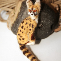needle felting animal genet felted brooch animal pin genet cat one of a kind woodland pin