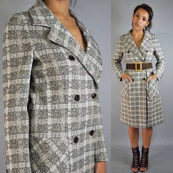 60s MOD COAT 1960s butte knit plaid lightweight double breasted mad men coat  s/m small / medium