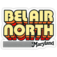 'Bel Air North, Maryland | Retro Stripes' Sticker by retroready