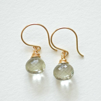 Green Amethyst Earrings, Gold Fill, Short Simple Gemstone Dangles, Wire Wrapped Briolette Jewelry